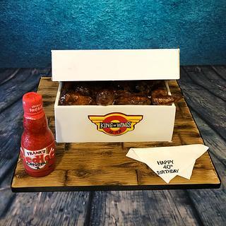 Box of hot wings cake