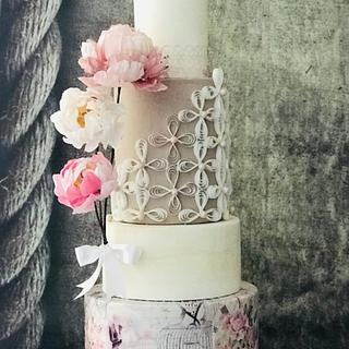 Amor… a wedding cake with wafer paper techniques - Cake by Bennett Flor Perez