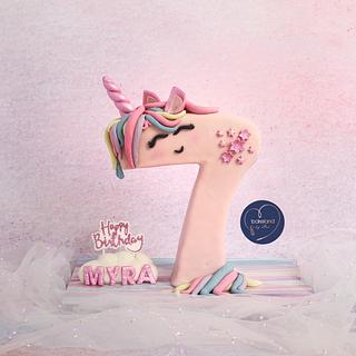 Unicorn Number 7 Cake