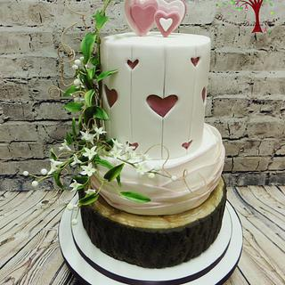 Rustic Hearts Wedding cake