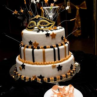 Black and Gold 21st Birthday Cake
