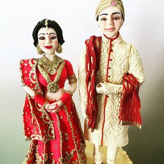Indian Bride & Groom  - Cake by Seema Tyagi