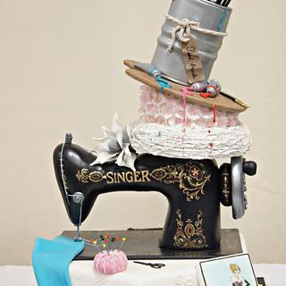 Sewing machine cake, painted, flowers