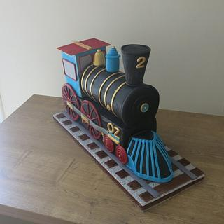 """Two -Two"" Train Engine Cake - Cake by The Garden Baker"