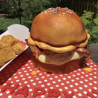 """Breakfast sandwich cake with RKT """"tatertots """""""
