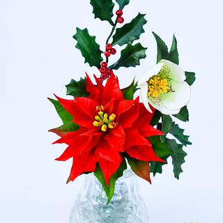 Christmas flowers arrangement - Cake by Benny's cakes