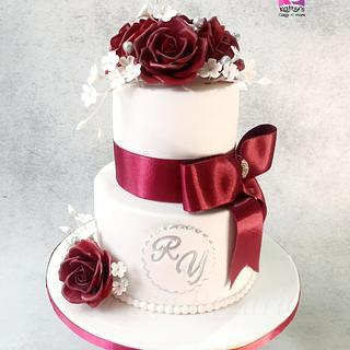 Maroon and white Wedding Cake