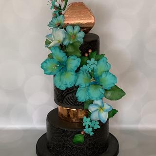 Black and blue Hibiscus  wedding cake