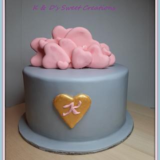 Hearts birthday cake