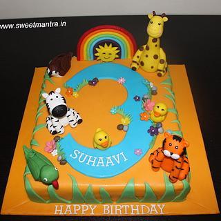 Nature Animals theme colorful fondant cake