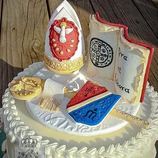 Confirmation Cake - Saint Benedict - Cake by Regina Coeli Baker