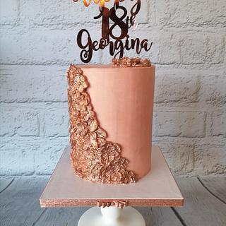 Rose gold moulded flower cake