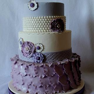 Purple Flower, Petal & Pearl cake