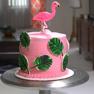 Painted Palm Leaf Flamingo Cake