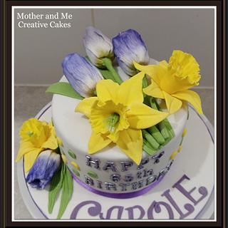 Daffodils and Tulips cake - Cake by Mother and Me Creative Cakes