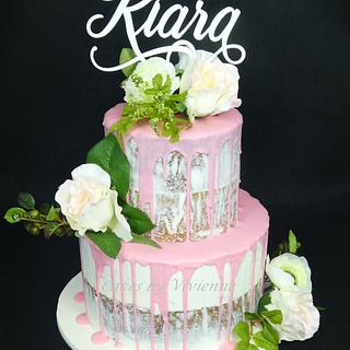 Pink Drip Christening Cake - Cake by Cakes by Vivienne