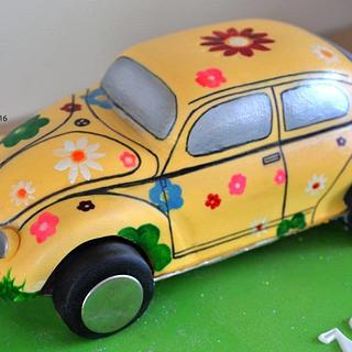 Beetle flower car cake