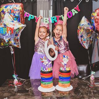 Twins unicorn karate cakes - Cake by Sarah's Cakes