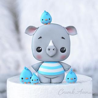 Cute Rhino Cake Topper - Cake by Crumb Avenue