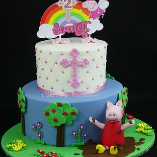 Combined Baptism and 2nd Birthday Cake - Cake by Cakes by Vivienne