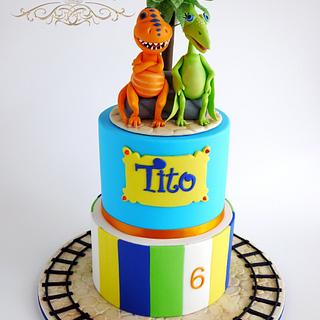 Dinosaur Train Cake with Buddy and Don