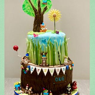 Woodlands 1st Birthday Cake Tree Trunk - Cake by Sugar by Rachel