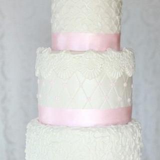 Pink and White Wedding Cake - Cake by Sonia Huebert