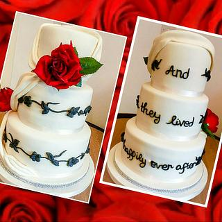Red rose swag wedding cake