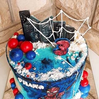 Handpainted cake 💙 Spiderman💙