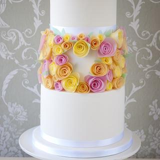 Spring Wedding Wafer Paper Roses by Windsor Cake Studio