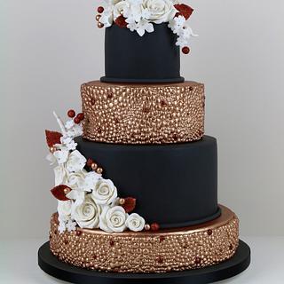 Black and Copper Wedding Cake