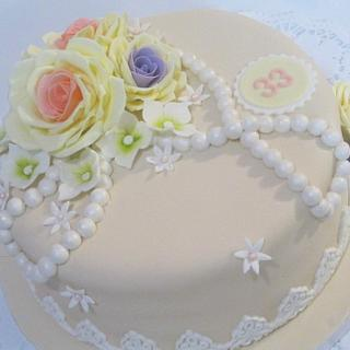 Vintage charm birthday cake