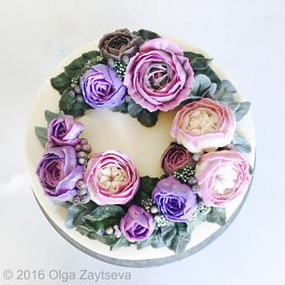 Buttercream David Austin Roses wreath cake - Cake by Olga Zaytseva