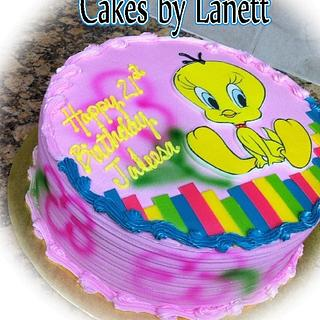 Airbrushed Tweety Cake