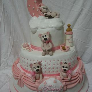 Bear christening cake for twins