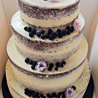 simple semi naked wedding cake - Cake by claire cowburn