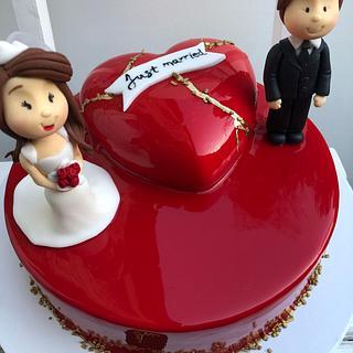 Mirror glaze wedding cake