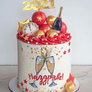 Handpainted NYE Cake