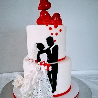 Wedding silhuette  - Cake by alenascakes