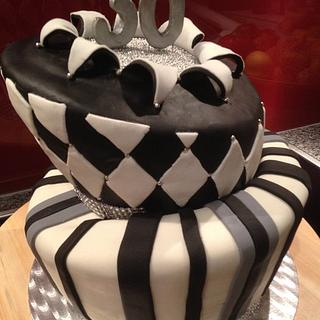 Black and White Topsy Turvy Cake