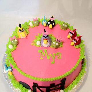 Girlie Angry Birds - Cake by Dawn Henderson