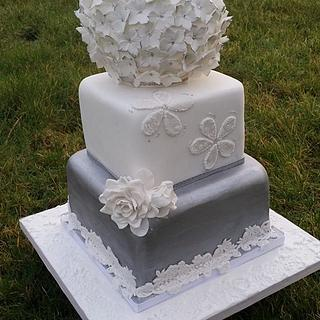 Silver Flower Ball - Cherub Couture Cakes