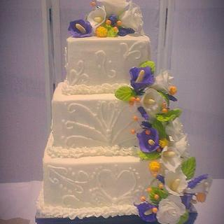 Calla Lily Square wedding cake,