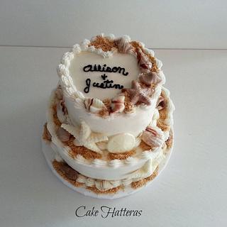 Allison and Justin - Cake by Donna Tokazowski- Cake Hatteras, Hatteras N.C.