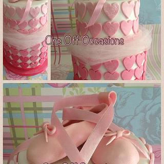 Ballet inspired birthday cake with edible shoes... - Cake by OneOffOccasions