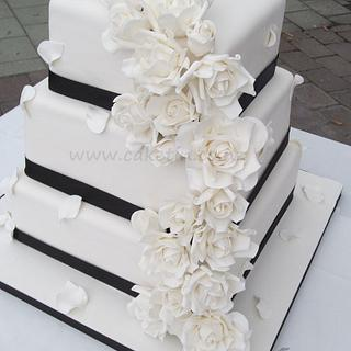 White roses wedding cake.