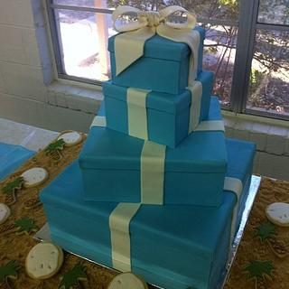 Tiffany Box Wedding Cake with sand dollar and palm tree cookies in edible sand