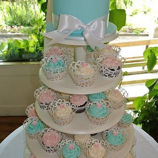 Turquoise Wedding Cupcake Tower