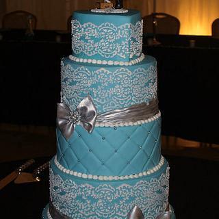 Blue Wedding Cake with Lace Stenciling