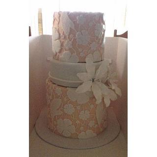 Floral lace engagement cake